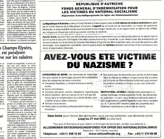 avez-vous été victime du nazisme ? Le Monde 21-02-2002